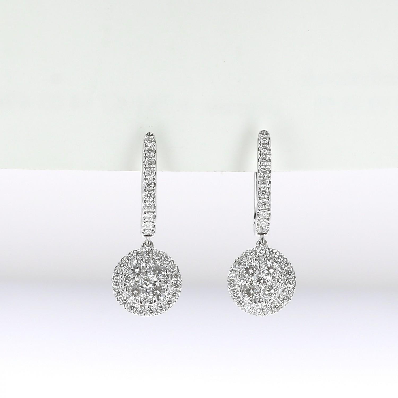 Boucle D Oreille Dormeuse Femme Or Blanc 18 K Diamants Gvs Bijoux Luxe