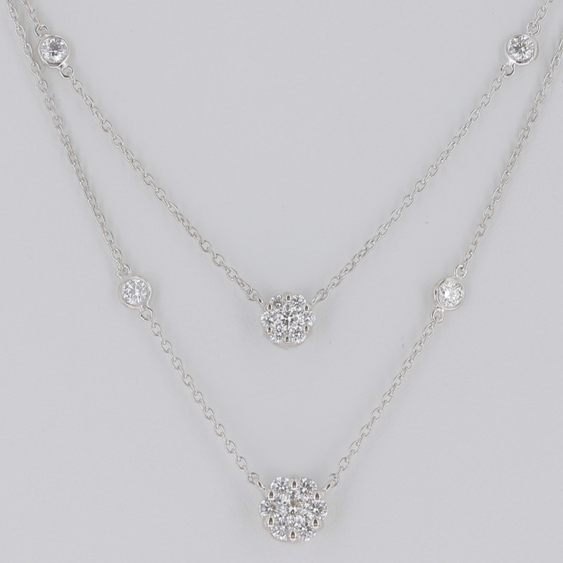 DOUBLE PENDENTIF DIAMANTS RONDS